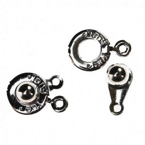 Push Button Clasps - Silver - 5 Pack