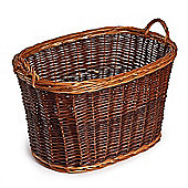 Oval Buff Wicker Log Basket
