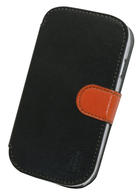Tortoise™ Look Faux Leather Folio Case Samsung Galaxy SIII Mini Black