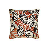 Linea Leaf Design Chenille Cushion In Rust