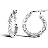 Jewelco London 9ct White Gold Hammered Hoop Earring