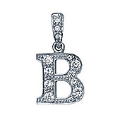 Jewelco London Rhodium-Coated Sterling Silver Initial Identity Pendant Letter B