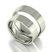 9ct White Gold 5mm Flat Court Wedding Band