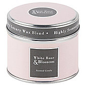 Tesco White Rose and Blossom Candle in a Tin