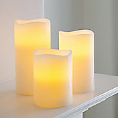 Set Of 3 Wax Battery Operated Flickering LED Candles