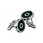 Fred Bennett Black Agate and Sterling Silver Target Cufflinks