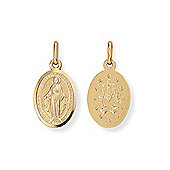 Jewelco London 9ct Yellow Gold - Miraculous Madonna (Virgin Mary) Medallion Charm Pendant -