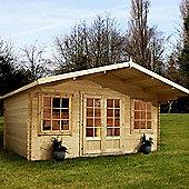 Mercia Garden Products Haven Log Cabin with Opening Windows - 260 cm H x 550 cm W x 600 cm D