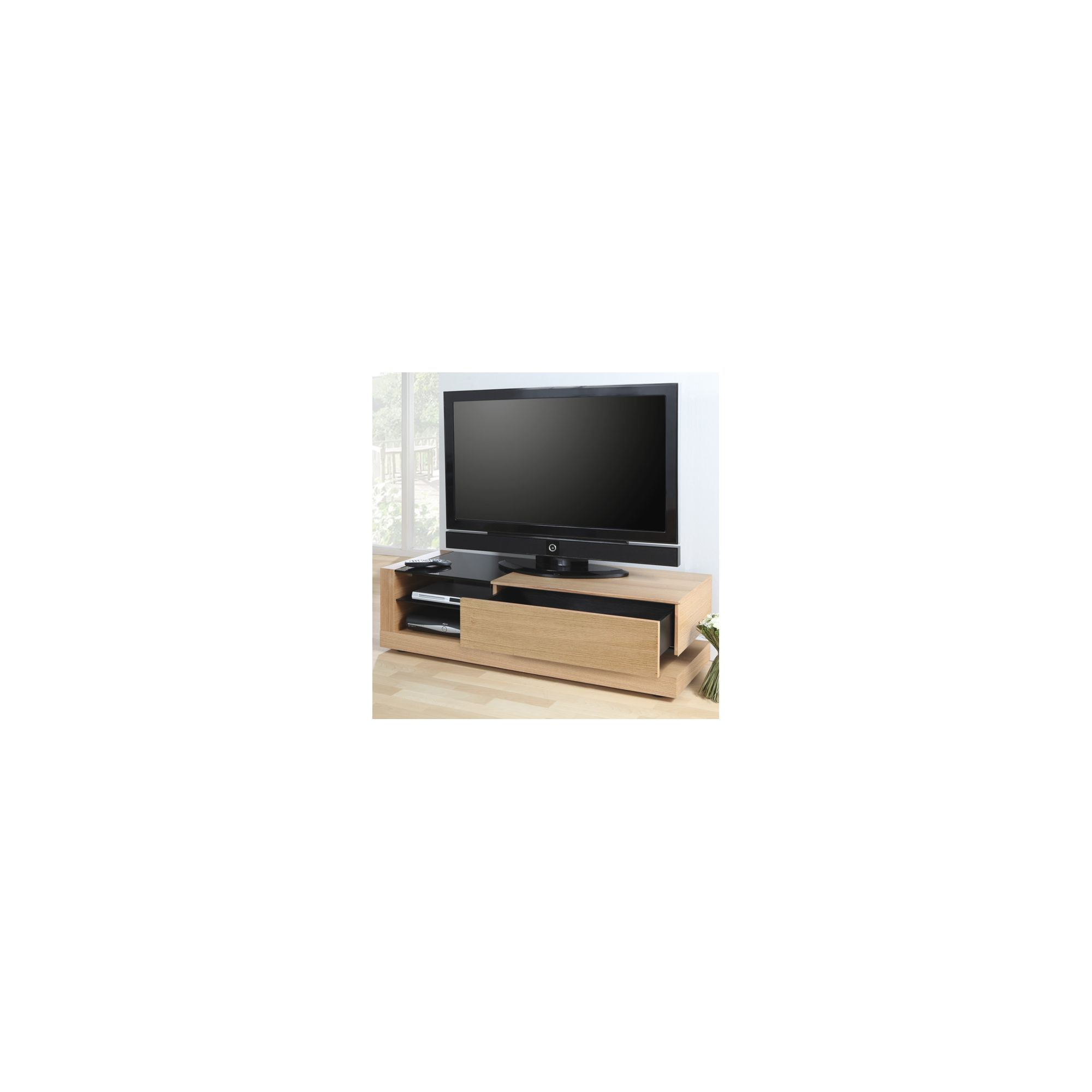 Jual Furnishings Cube TV Cabinet - Oak - Clear at Tesco Direct