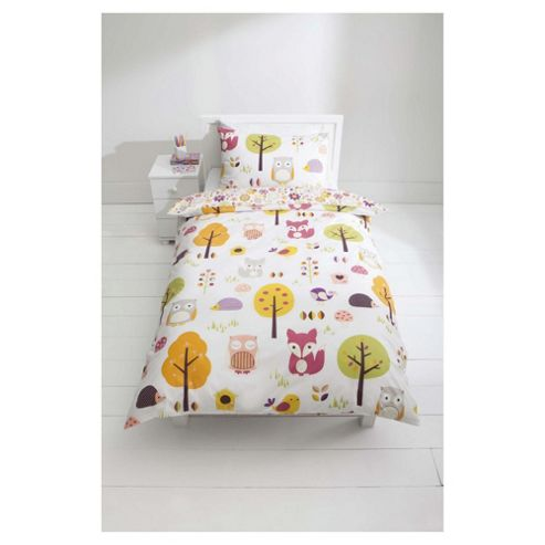 Tesco Kids 100% Cotton Woodland Print Duvet Cover Set Single