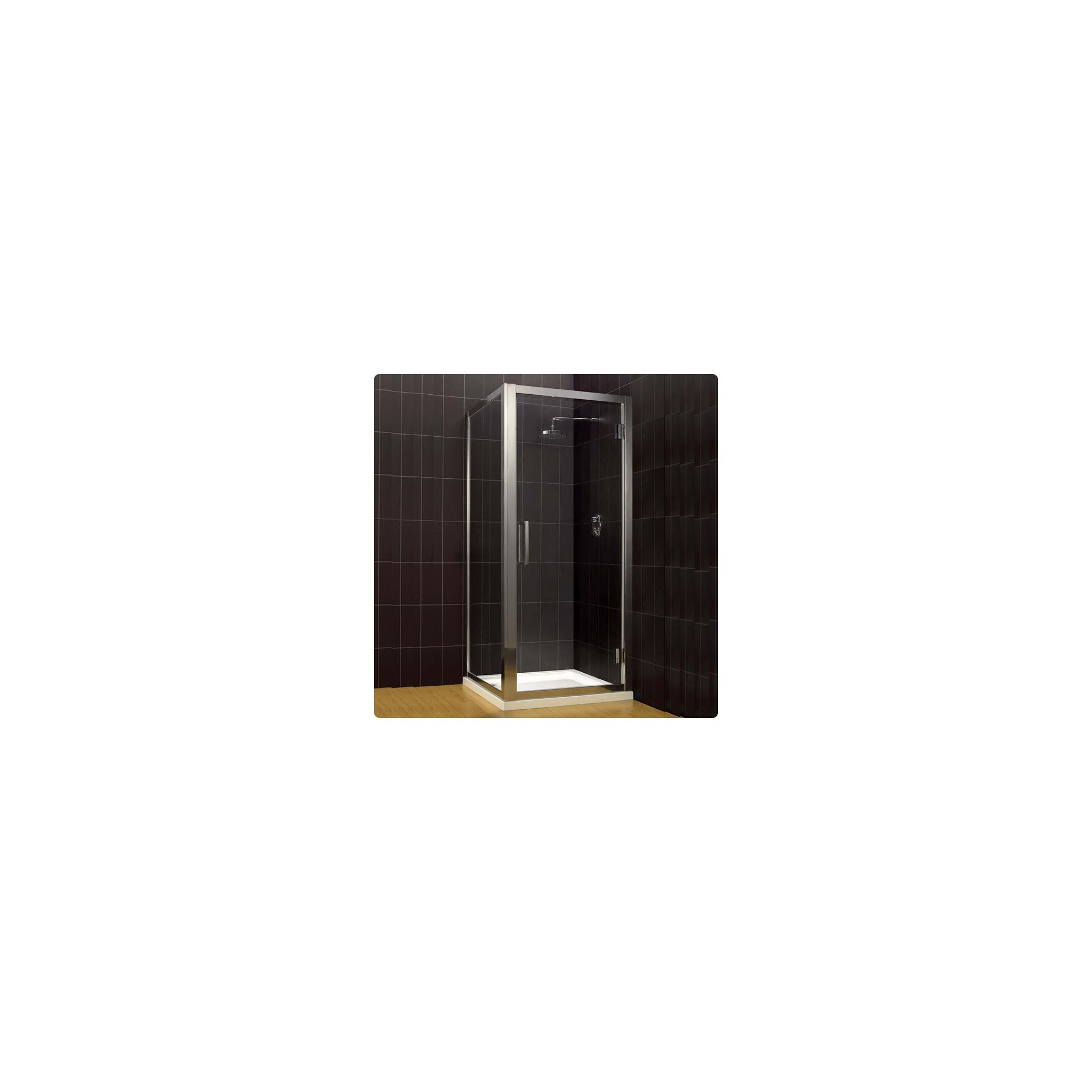Duchy Supreme Silver Hinged Door Shower Enclosure with Towel Rail, 1000mm x 760mm, Standard Tray, 8mm Glass at Tesco Direct