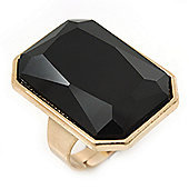 Faceted Rectangular Black Glass Ring In Gold Plating - 27mm Across - Adjustable - Size 7/8