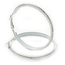 Large White Enamel Hoop Earrings In Silver Tone - 60mm Diameter