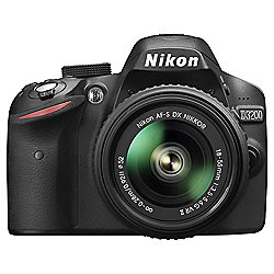 "Nikon D3200 Digital SLR, Black, 24.2MP, 3"" LCD Screen, 18-55 VR II Lens"