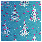 Tesco Silver Holographic Tree Christmas Wrapping Paper, 3m