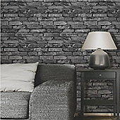 Rustic Silver Brick Wallpaper