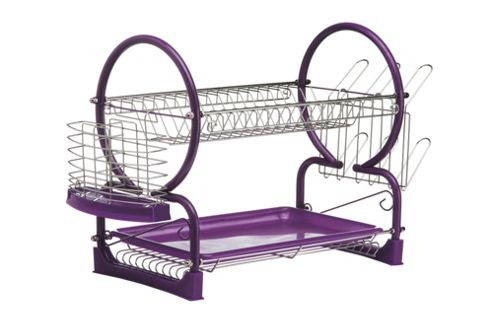 Premier Housewares 56 cm 2 Piece Tier Dish Drainer with Plastic Tray - Purple