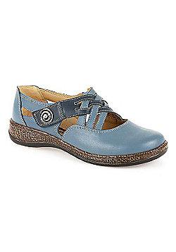 Loretta Leather Touch Fasten Shoe Black - 3 - Blue
