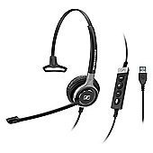 Sennheiser Century SC 630 USB ML Wired Mono Headset - Over-the-head - Circumaural - Black, Silver