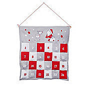 Red, White & Grey Hanging Fabric Christmas Advent Calendar