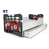 Toddler Bed With Drawer and Mattress - Racing Car (Medium)