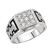 Rhodium-Coated Sterling Silver Gents Fashion Ring Size