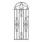 Wrought Iron Style Metal Scroll Tall Bow Top Side Garden Gate 76cm GAP x 175cm HIGH