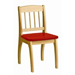 Pin Wooden Junior Chair in Natural / Red