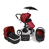 Your Baby Alaska Chilli Red 3 In 1 Pram/Travel System/Car Seat/Carrycot/Pushchair/Stroller