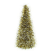 FESTIVE 50CM TINSEL TREE-CLEAR / GOLD SILVER TIPS