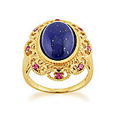 Gemondo Gold Plated Sterling Silver 5.30ct Lapis Lazuli & 0.20ct Rhodolite Cocktail Ring