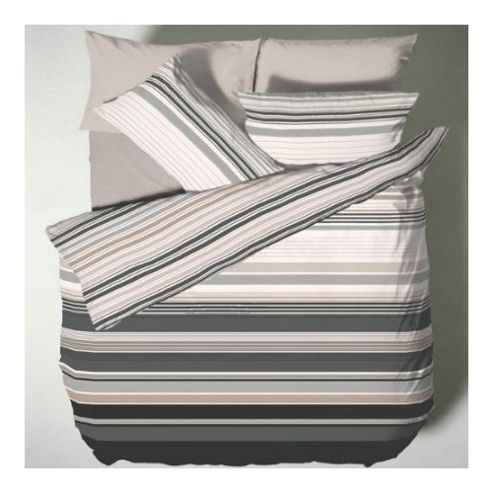 Catherine Lansfield Home Designer Collection Ross Stripe Single Bed Duvet Cover Set Black