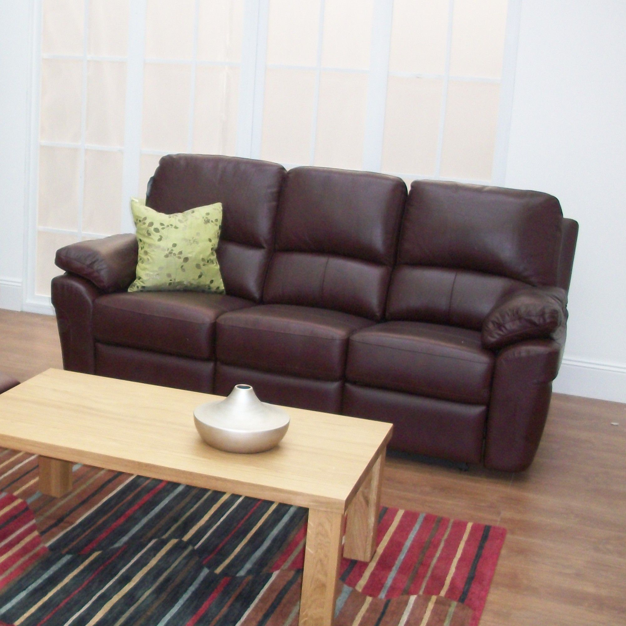 Furniture Link Monzano Three Seat Reclining Sofa in Chestnut - Black at Tesco Direct