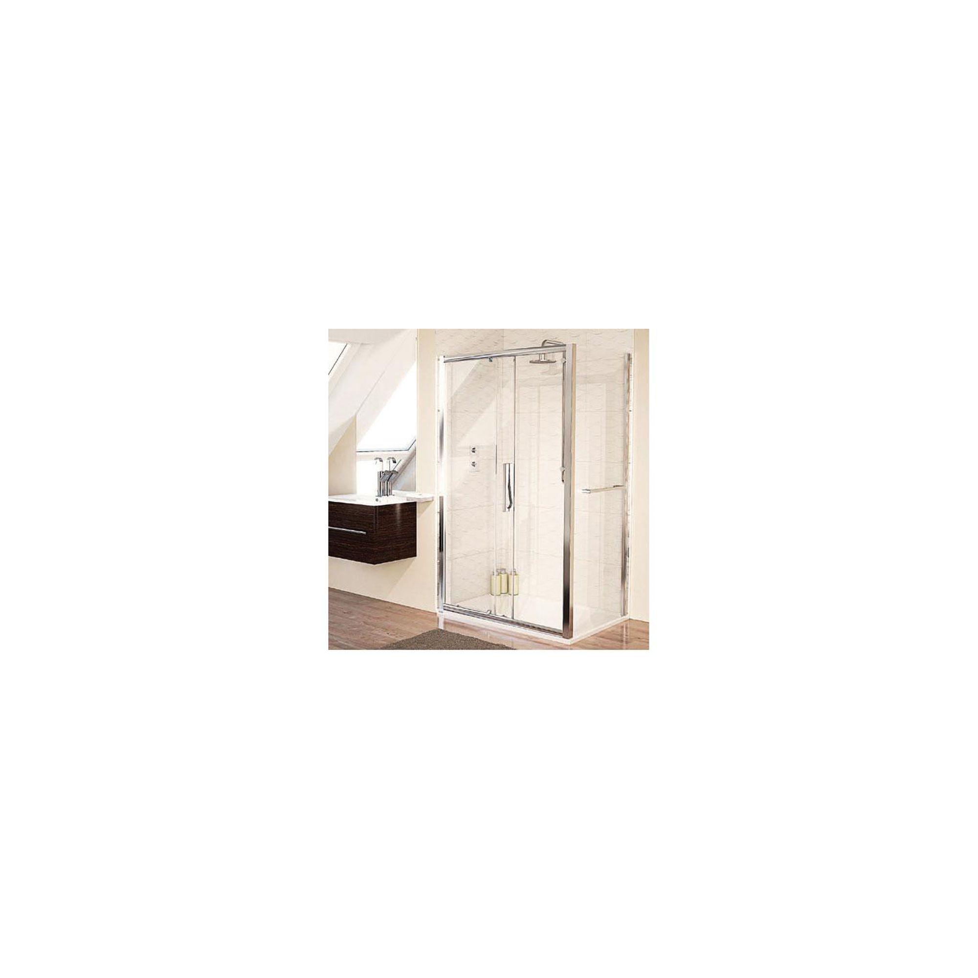 Aqualux AQUA8 Glide Sliding Shower Door, 1200mm Wide, Polished Silver Frame, 8mm Glass at Tesco Direct