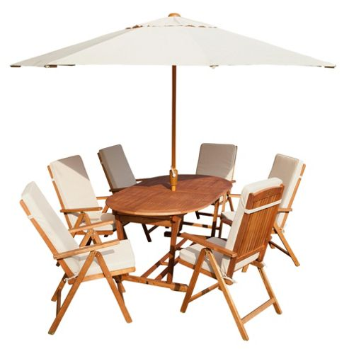 Salcombe 6/8 Seat Extenable, Parasol & Seat Cushions