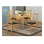 Elements Athens 5 Piece Oak Round Drop Leaf Dining Collection