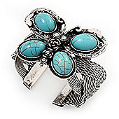 Vintage Turquoise Bead Butterfly Cuff Bracelet In Antique Silver Metal - Adjustable