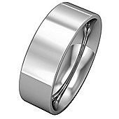 Jewelco London 9ct White Gold - 7mm Flat-Court Band Commitment / Wedding Ring - Size Z 1/2