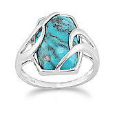 Gemondo Sterling Silver 6.50ct Turquoise Cabochon Contemporary Baguette Ring