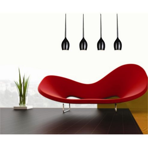 Azzardo Izza Four Light Pendant - Black Glass