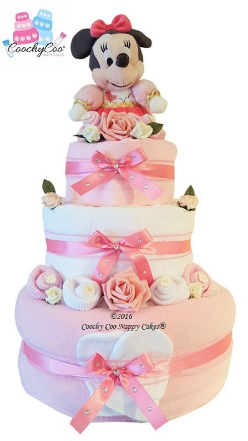 Buy Baby Girl Disney Minnie Mouse Nappy Cake Gift 3 Tier