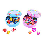 Bigjigs Toys BJ863 Wooden Jewellery Making Set in Tin (One Supplied - Designs Vary)