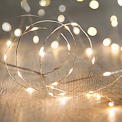 20 Micro Warm White LED Battery Fairy Lights