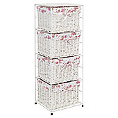 Tesco White Wicker Lined 4 Drawer Tower