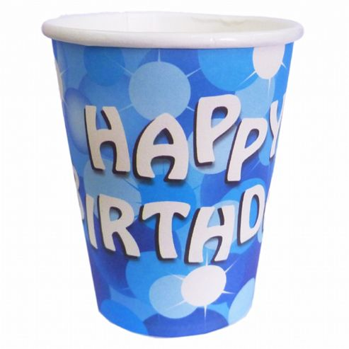 Blue Sparkle Happy Birthday Cups - Pack of 8