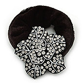 Black Tone Swarovski Crystal 'Flower' Pony Tail Black Hair Scrunchie - Clear