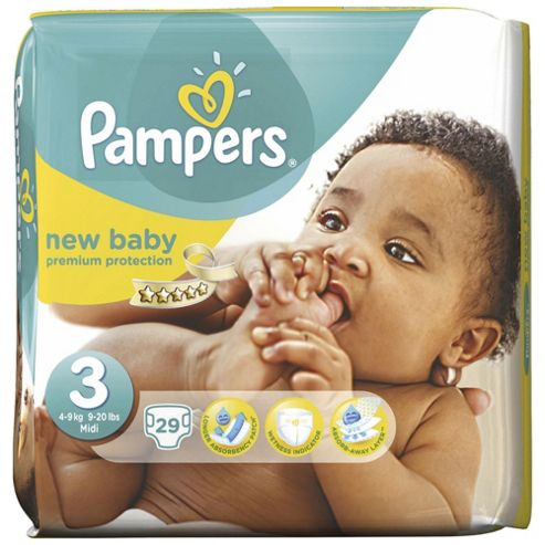 Pampers New Baby Size 3 (Midi) Carry Pack - 29 Nappies