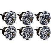 Ceramic Cupboard Drawer Knobs - Vintage Flower Design - Dark Blue - Pack Of 6