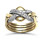 Jewelco London 9 Carat Yellow Gold 12pts Diamond Ring