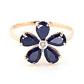 QP Jewellers Diamond & Sapphire Foliole Ring in 14K Rose Gold